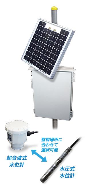 ソーラ式簡易水位計「監視場所に合わせて超音波式と水圧式を選択可能」